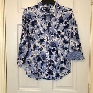 Chaps Tops - Chaps Blue Floral Button Down
